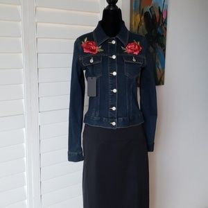 Dark denim jacket with roses